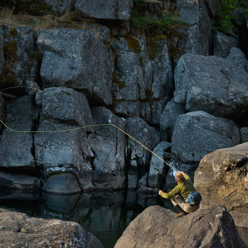 Fishing a calm pool on Icicle Cree, Washington- Eric Mickelson Photo.