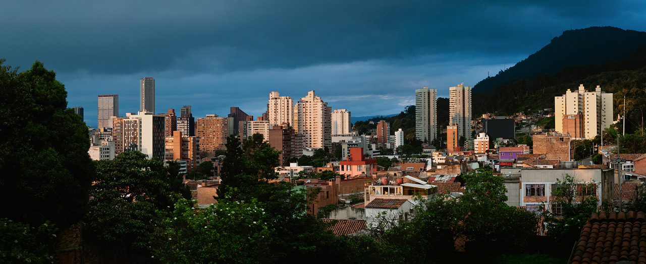 The skyline of Bogota, Colombia at sunset.