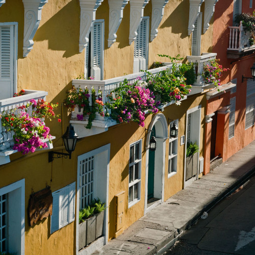 Beautiful flower-draped balconies in Cartagena, Colombia.