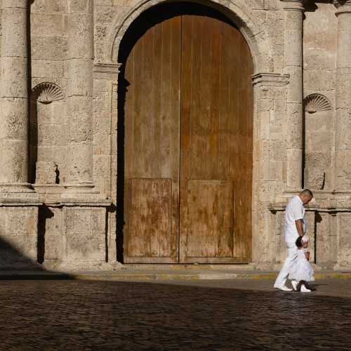 Walking to church in Cartagena, Colombia