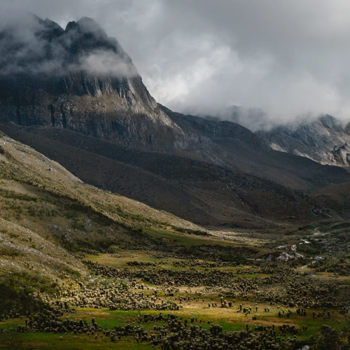 Late afternoon light over a beautiful valley in El Cocuy National Park, Colombia.