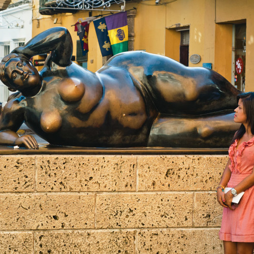 Contemplating a sculpture by Botero in Cartagena, Colombia.