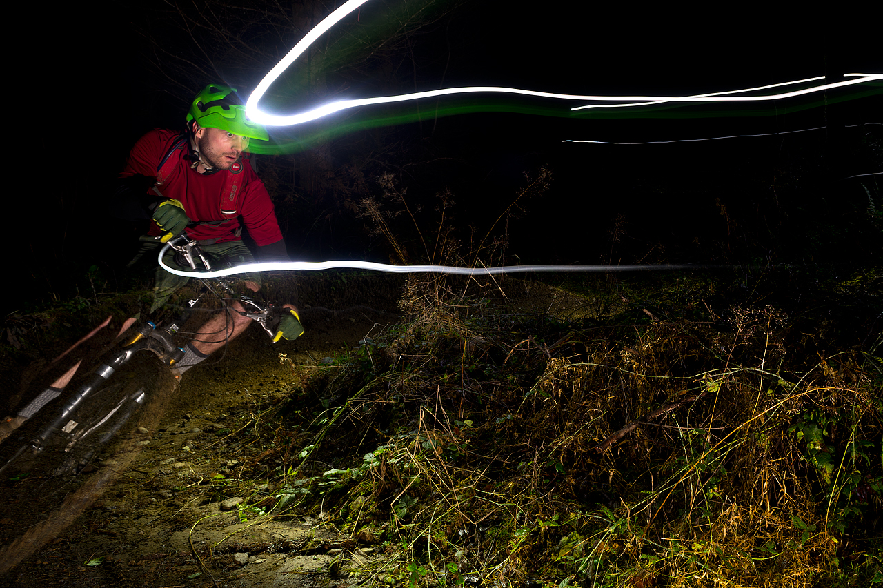 Night ride at Galbraith Mtn, Bellingham, WA. © Eric Mickelson