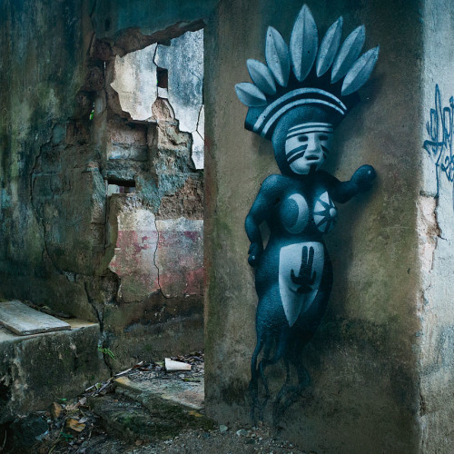 Beautiful graffiti on an abandoned building in Minca, Colombia