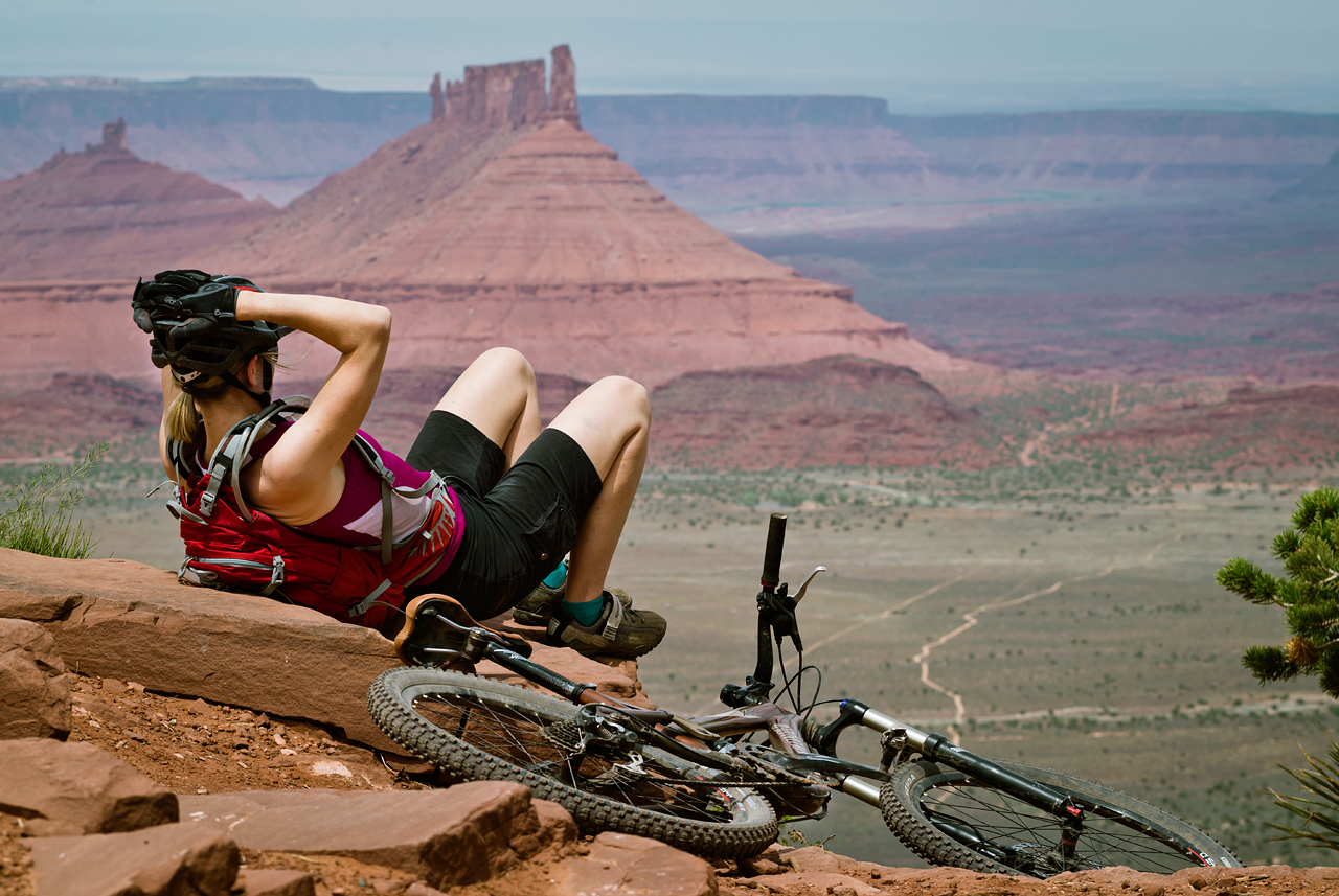 Taking in the view from Moab's iconic Porcupine Rim Trail.  Photo by Eric Mickelson