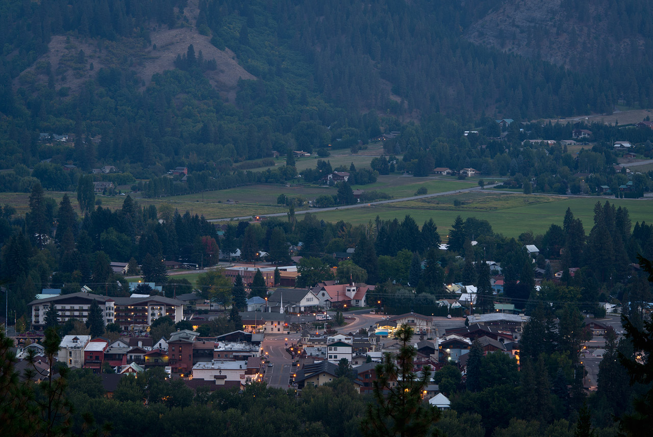 The town of Leavenworth, Washington, just before sunrise.