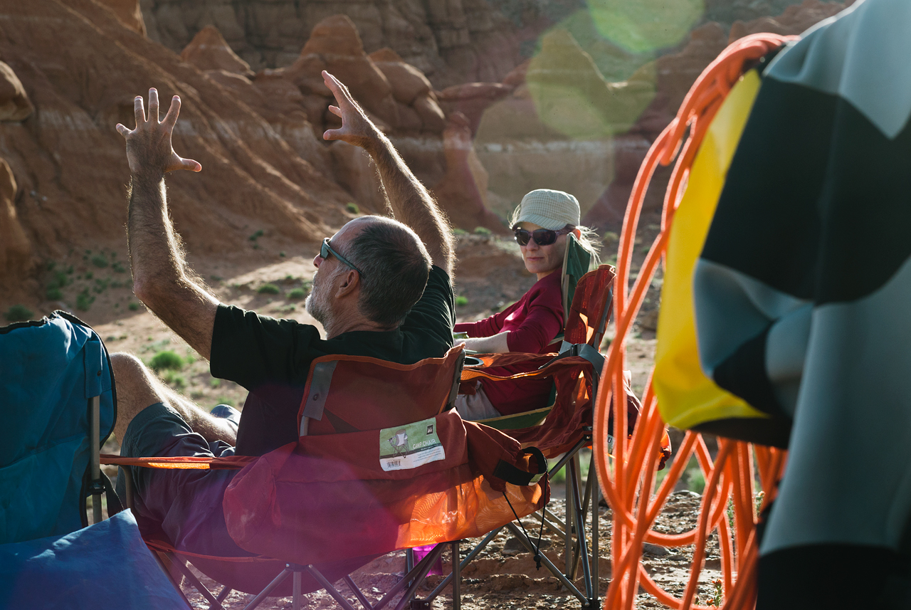 Telling stories in camp after a great day of canyoneering. © Eric Mickelson
