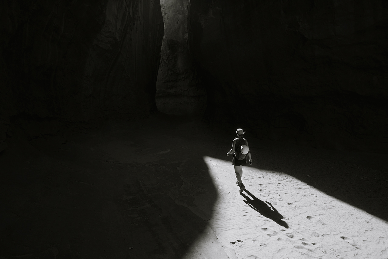 Amy exiting the canyon in beautiful light.© Eric Mickelson